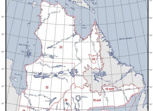 зоны спортивной ловли Севера Квебека